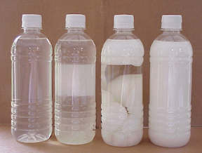 Coconut Oil in stages from liquid to solid.